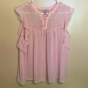 Womens gorgeous baby pink polka dot blouse